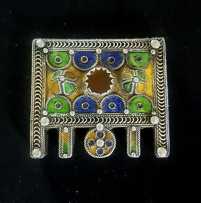 Morocco - Old Berber Talisman - HERZ – Silver, enamel and red Glass - Anti-Atlas