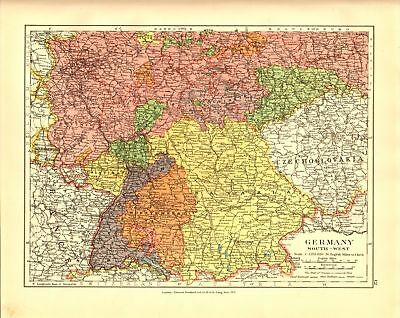 Edward Stanford Map  1920 . Germany -South-West