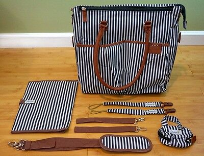 NEW Stachris Unisex Baby Diaper Bag Many Pockets, Changing Pad, Pacifier Clips!