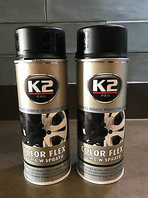 2 x K2 COLOR FLEX PLASTIC MATT BLACK PLASTI DIP RUBBER PAINT SPRAY AEROSOL 400ml
