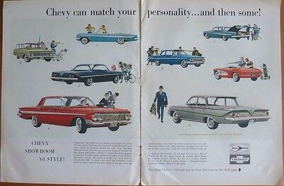 CHEVROLET SHOWROOM 1961 STYLE Print Ad 1960's Vintage Advertisement 2 Page