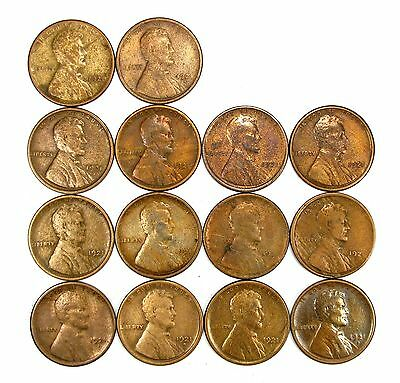 Lot of 14 1921 S 1c Lincoln Wheat Cent Pennies F Fine / F+ Fine+ Cleaned #107921