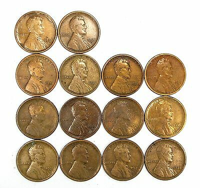 Lot of 14 1921 S 1c Lincoln Wheat Cent Pennies F Fine / F+ Fine+ Cleaned #107919