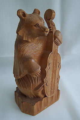 ~~~Vintage Wood Carved Bear With Cello--World Expo 1967 Quebec Canada~~~