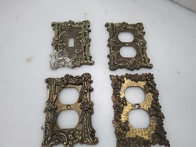 4 Vintage Brass Random Styles Outlet/Switch Plate Covers i968C