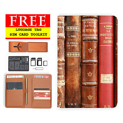 Rfid Blocking Anti Scan Travel Passport Wallet Holder Pouch Cover Retro Book