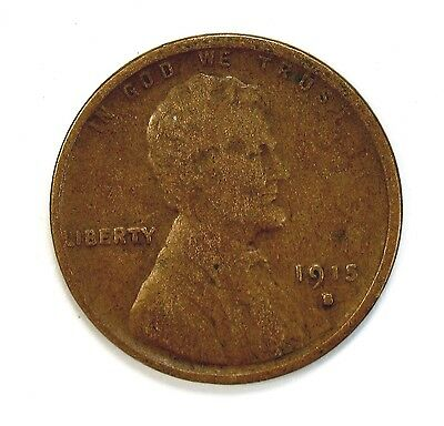 1915 S 1c Lincoln Wheat Cent Penny VG Very Good #107756