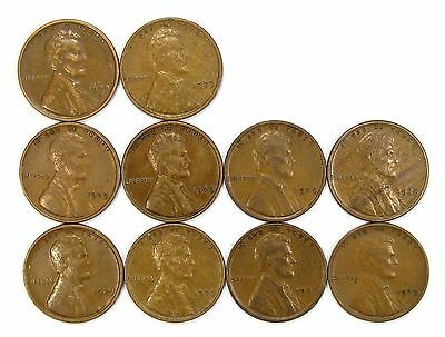 Lot of 10 1929 P 1c Lincoln Wheat Cent Pennies VF Very Fine / VF+ #107128