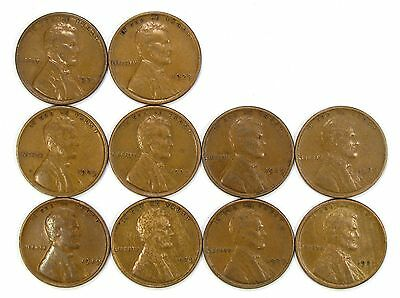 Lot of 10 1929 P 1c Lincoln Wheat Cent Pennies VF Very Fine / VF+ #107127