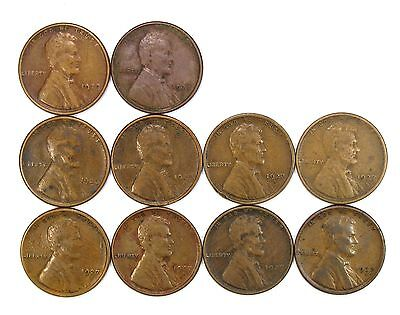 Lot of 10 1927 S 1c Lincoln Wheat Cent Pennies VF Very Fine / VF+ #107125