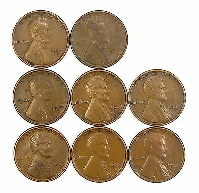 Lot of 8 1927 S 1c Lincoln Wheat Cent Pennies VF Very Fine / VF+ #106854