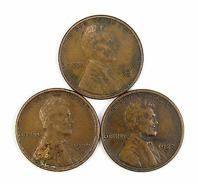 Lot of 3 1927 S 1c Lincoln Wheat Cent Pennies XF Extra Fine / XF+ #106853