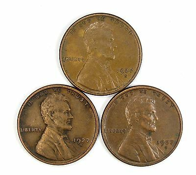 Lot of 3 1927 S 1c Lincoln Wheat Cent Pennies XF Extra Fine / XF+ #106852