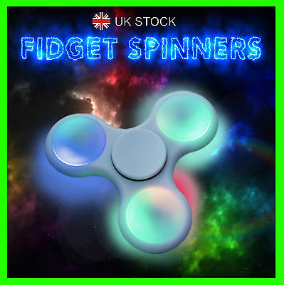Fidget Spinner LED Light Flash Hand Finger Focus EDC Fast Bearing Stress Toys UK