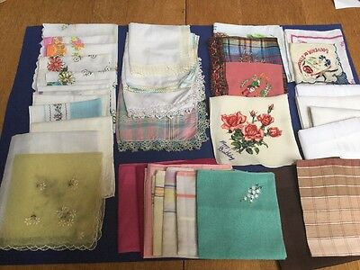 36 Vintage Handkerchiefs.Assorted.