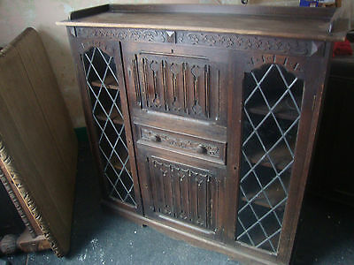 Antique Linenfold Bureau Display Cabinet with Leaded Glass Doors