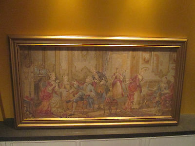 VTG.1900-20 Framed Jacquard Tapestry Elegant Ladies in 18th. Century Shipped KD