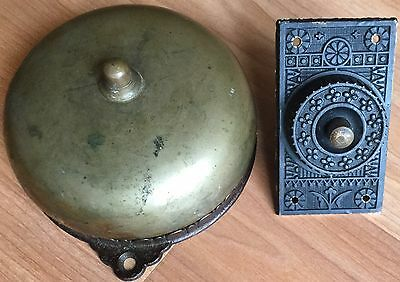 Old Vtg Antique Brass Door Bell Eastlake Design Sargent & Co Decorative 1876