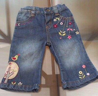 Baby Girls Embroidered Floral Mamas And Papas Jeans ~ Age 0-3 Months