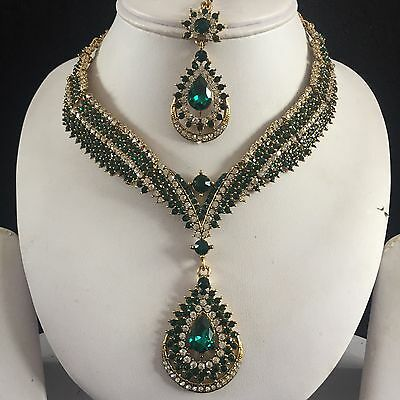 Green Gold Indian Costume Jewellery Necklace Head Chain Crystal Diamond Set New