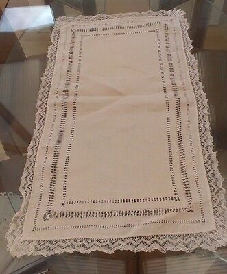 Vintage White Cotton And Lace Table Runner