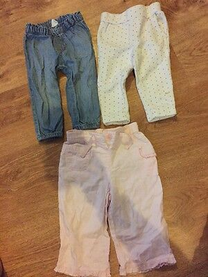 Baby Girls Trousers Age 6-9 Months Pink Summer Jeans Next Gap