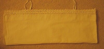 Vintage White Pillowcase Hand Embroidered Crochet Lace Edge With Ties