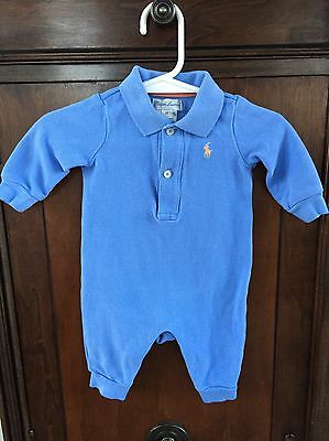 Ralph Lauren Baby Boy 3 Months Sky Blue One Piece Romper Easter Outfit