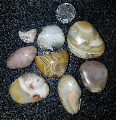 Lot of 8 Lake Superior Agate Tumbled  8 1/2 ounces