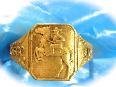 1950 Japan Made Brass Cisco Kid Child's Toy Scarce Ring Dated 1950