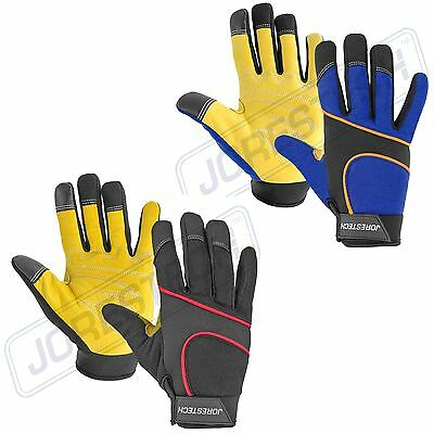 Mechanics Work Gloves Cow Leather  Washable M -XL