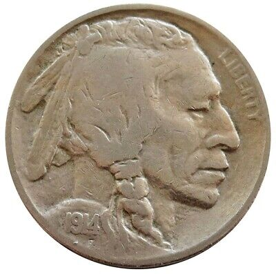 1914 S United States Buffalo Nickel Coin Fine Condition San Francisco Mint