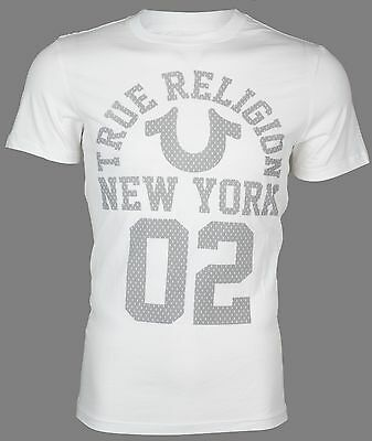TRUE RELIGION Mens T-Shirt NEW YORK White with Grey Print $69 Jeans NWT