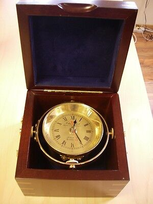 Vintage John Poole London Marine Chronometer Clock Original Box Nice Condition