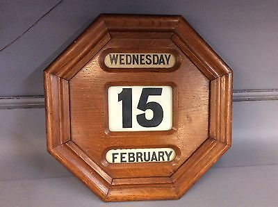 Antique Perpetual Scrolling Wall Hanging Calendar Octagon Wood