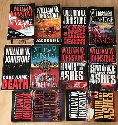 Lot of 10 William W Johnstone-4 in Ashes Series-Jackknife-Home Invasion,Firebase