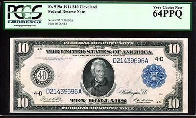"Fr.919A 1914 $10 ""PHILADELPHIA"" FRN + PCGS CHOICE NEW UNCIRCULATED 64PPQ RARE"