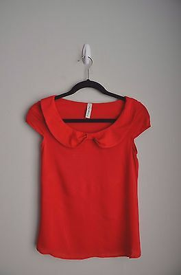 retro pin up red bow peter pan collar short sleeves shell top Sz Small