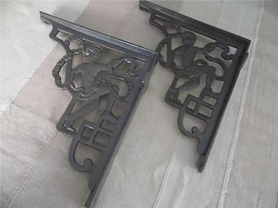 Beautiful Pair Large Quality Replica Cherub Design Cast Iron Shelf Brackets .