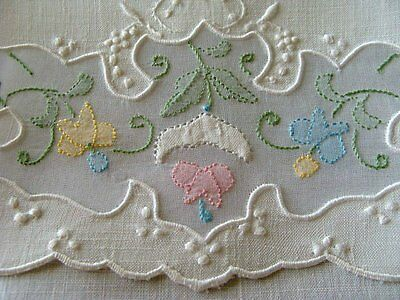 WOW Vtg MADEIRA White Linen Organdy Guest Towel Hand Embroidered UNUSED Label