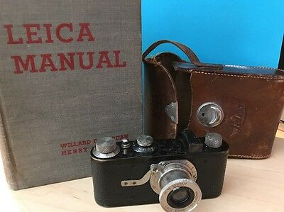 LEICA I 1930 LEITZ PHOTO CAMERA with Elmar 1:3,5 F=50mm Lens, Case And Book