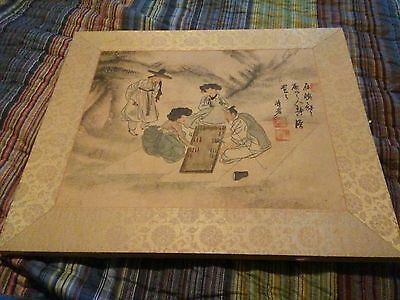 asian drawing painting mounted on board signed stamped  vintage?