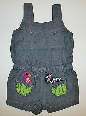 Nwt Gymboree Wild For Zebra Chambray Romper Girls 3-6 Months New