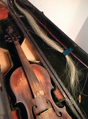 Antique Vintage Violin And Case And Bow Jared J. H. W. On The Inside.