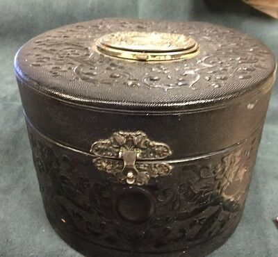 Antique Leather Collar Box.  Embossed Leather W/ Compact On Top REDUCED