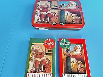 "2/NEW=COCA COLA NOSTALGIA ""SANTA PLAYING CARDS""in/COLLECTIBLE CHRISTMAS TIN-1995"