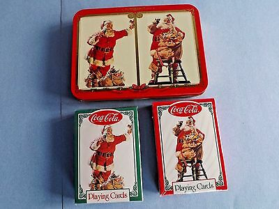"2/NEW COCA-COLA CHRISTMAS=NOSTALGIA ""SANTA PLAYING CARDS""in COLLECTIBLE TIN-1996"