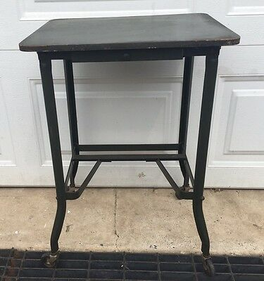 Vintage Art Steel NY Metal Small Table Steam Punk Industrial Army Green Wood Top
