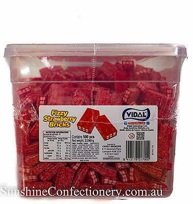 Fizzy Strawberry Bricks-Vidal Tub -approx 500 pieces RED sour lollies Post Incl