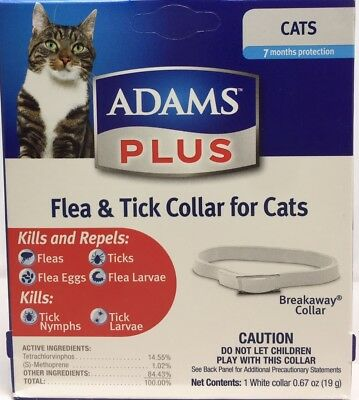 Adams Plus Flea, Eggs & Tick Collar for Cats Up to 7 month Protection